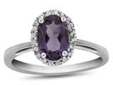 10kt White Gold 7x5mm Oval Amethyst with White Topaz accent stones Halo Ring style: R1079400