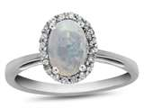 10k White Gold 7x5mm Oval Created Opal with White Topaz accent stones Halo Ring style: R1079402