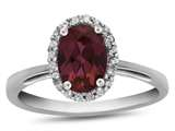Finejewelers 10k White Gold 7x5mm Oval Created Ruby with White Topaz accent stones Halo Ring style: R1079404