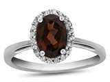 10k White Gold 7x5mm Oval Garnet with White Topaz accent stones Halo Ring style: R1079406