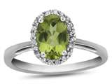 10kt White Gold 7x5mm Oval Peridot with White Topaz accent stones Halo Ring style: R1079408