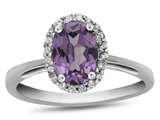 10k White Gold 7x5mm Oval Simulated Alexandrite with White Topaz accent stones Halo Ring style: R1079409
