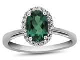 10k White Gold 7x5mm Oval Simulated Emerald with White Topaz accent stones Halo Ring style: R1079411