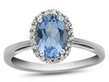 Finejewelers 10k White Gold 7x5mm Oval Swiss Blue Topaz with White Topaz accent stones Halo Ring style: R1079412