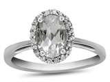10k White Gold 7x5mm Oval White Topaz with White Topaz accent stones Halo Ring style: R1079413