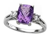 9x7mm Antique Shaped Amethyst and White Topaz Ring style: R7980A