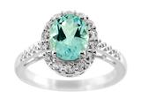 Finejewelers 9x7mm Oval Blue Topaz and White Topaz Halo Ring style: R8003SK
