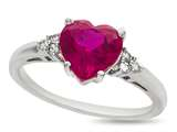 8x8mm Heart Shaped Created Ruby and White Sapphire Ring style: R8514CRRCRWS