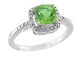6x6mm Cushion Shaped Peridot Ring style: R8625SPP
