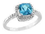 6x6mm Cushion Shaped Blue Topaz Ring style: R8625SPSW