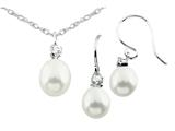 Freshwater Cultured Pearl Dangle with White Topaz Pendant and Earrings Set style: S456PRLWHT