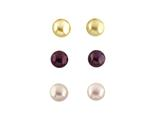 3 Pair 6mm Freshwater Burgundy, Rose, and Champagne Button Cultured Pearl Set Earrings style: S467MUL1