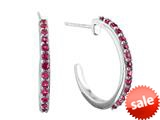 Finejewelers 1.5mm Created Ruby Post--With-Friction-Back Hoop Earrings style: E6778CRR