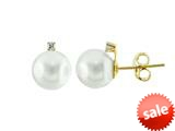 14k Yellow Gold 7.5mm Freshwater Cultured Pearl Stud Earrings style: E7098PRLWHT