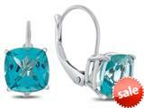 Finejewelers 7x7mm Cushion Coated Paraiba Topaz Lever-back Drop Earrings style: E8117PAR10KW