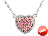 1.5mm Heart Shaped Created Pink Sapphire 18 Inch Necklace style: N842SPCRPS