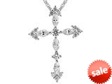 3mm White Cubic Zirconia Created Antique Shaped Cross Pendant Necklace With 18 Inch Chain style: P5861CZ