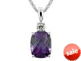9x7mm Antique Shaped Amethyst and White Topaz Pendant Necklace- 18 Inch Chain Included style: P6110A