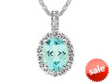 9x7 Oval Blue Topaz and White Topaz Pendant Necklace- 18 Inch Chain Included style: P6121SK