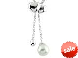 6mm 2 Drop Freshwater Cultured Pearl Pendant with Heart Shaped Top style: P7795PRLWHT