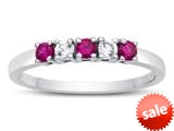 2.5mm Created Ruby and White Topaz Band / Ring style: R10049MUL16