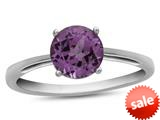 Finejewelers 10k White Gold 7mm Solitaire Round Created Pink Sapphire Ring style: R1078203
