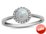 Finejewelers 10k White Gold 6mm Round Created Opal with White Topaz accent stones Halo Ring style: R1079002