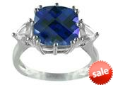 10x10mm Antique Shaped Created Blue Sapphire and White Sapphire Ring style: R5316MUL7