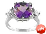 Finejewelers 10x10mm Cushion Shaped Amethyst and Trillion White Topaz Ring style: R5316MUL8