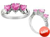 6x6mm Created Pink Sapphire Heart Shaped Ring style: R7993CRPS