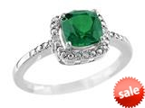 6x6mm Cushion Shaped Created Emerald Ring style: R8625SPCRE