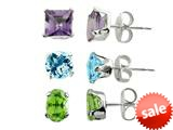 3 Pairs Blue Topaz, Amethyst, and Peridot Earrings Set style: S457