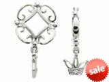 Storywheel® Created White Sapphire Crown Dangle Bead / Charm style: W134