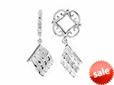 Storywheel® Created White Sapphire Flag Dangle Bead / Charm style: W165