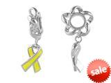 Storywheel® Enamel Yellow Ribbon Dangle Bead / Charm style: W248PLAINYEL