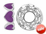 Storywheel® Purple Enamel Hearts Bead / Charm style: W419PUR