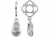 Storywheel® Created White Sapphire Baby Shoe Dangle Bead / Charm style: W496