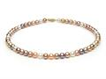 Multicolor Fresh Water Cultured Pearl Necklace 7-7.5mm each
