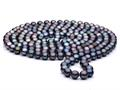 60 inch Black(dyed)  Fresh Water Cultured Pearl Rope 7-8 mm each