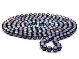 60 inch Black(dyed)  Fresh Water Cultured Pearl Rope 7-8 mm each style: FW050282