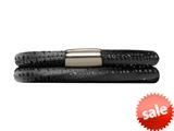 Endless Jennifer Lopez Black Reptile, 36cm/7.0inch Double Leather Bracelet Steel Finish style: 100336
