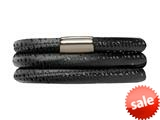 Endless Jennifer Lopez Black Reptile, 54cm/7.0inch Triple Leather Bracelet Steel Finish style: 100354