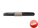 Endless Jewelry Black Leather 20cm/8.0inch Single Leather Bracelet Steel Finish style: 1210120