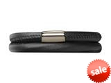 Endless Jewelry Black Leather 38cm/7.5inch Double Leather Bracelet Steel Finish style: 1210138