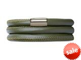 Endless Jewelry Green Leather 63cm/8.5inch Triple Leather Bracelet Steel Finish style: 1210263