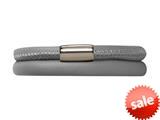Endless Jewelry Grey Leather 38cm/7.5inch Double Leather Bracelet Steel Finish style: 1210338