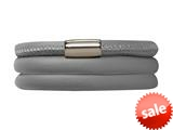 Endless Jewelry Grey Leather 63cm/8.5inch Triple Leather Bracelet Steel Finish style: 1210363