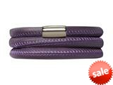Endless Jewelry Purple Leather 60cm/8.0inch Triple Leather Bracelet Steel Finish style: 1210660