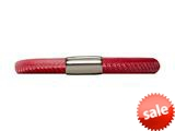 Endless Jewelry Red Leather 19cm/7.5inch Single Leather Bracelet Steel Finish style: 1210719
