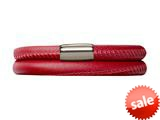 Endless Jewelry Red Leather 42cm/8.5inch Double Leather Bracelet Steel Finish style: 1210742